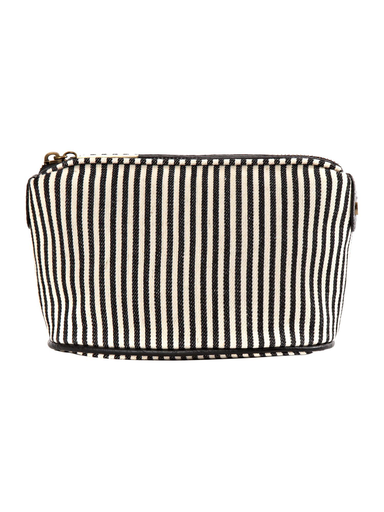 Timney Stripe Print Small Cosmetic Bag Black Multi