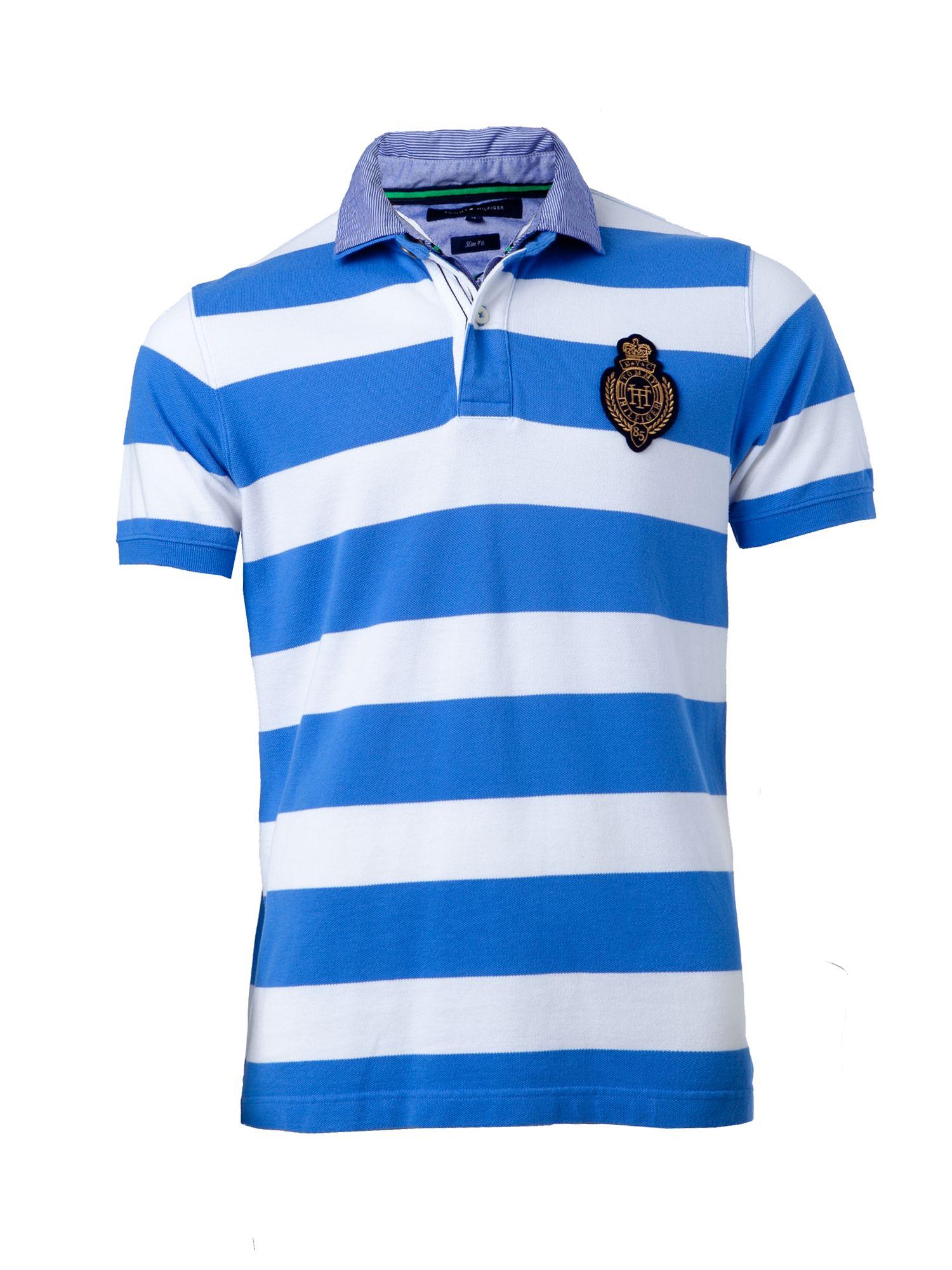 tommy hilfiger casey slim fit stripe polo in blue for men. Black Bedroom Furniture Sets. Home Design Ideas