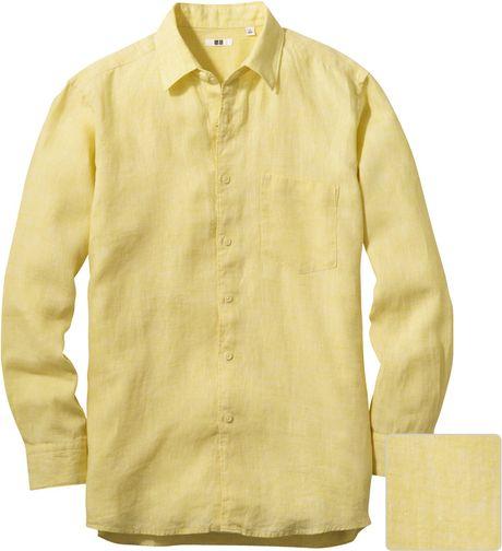 Uniqlo men premium linen long sleeve shirt in yellow for for Uniqlo premium t shirt