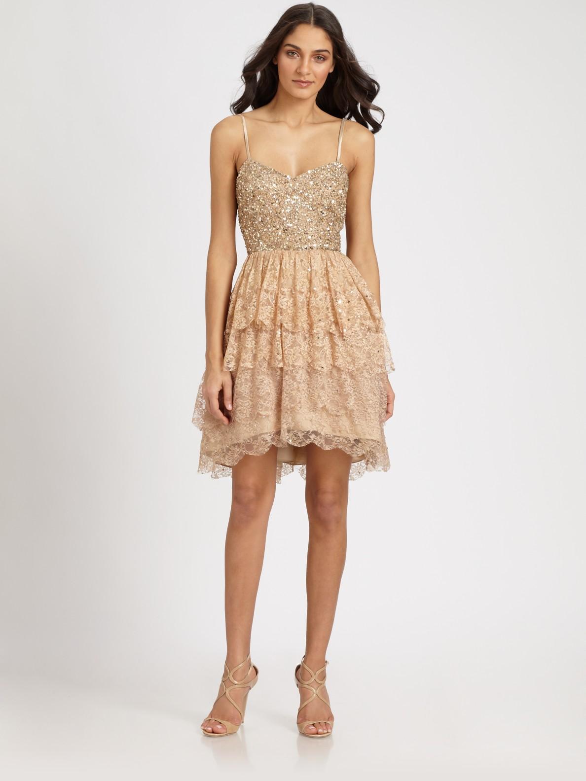 Lyst - Aidan Mattox Sequined Lace Dress in Metallic