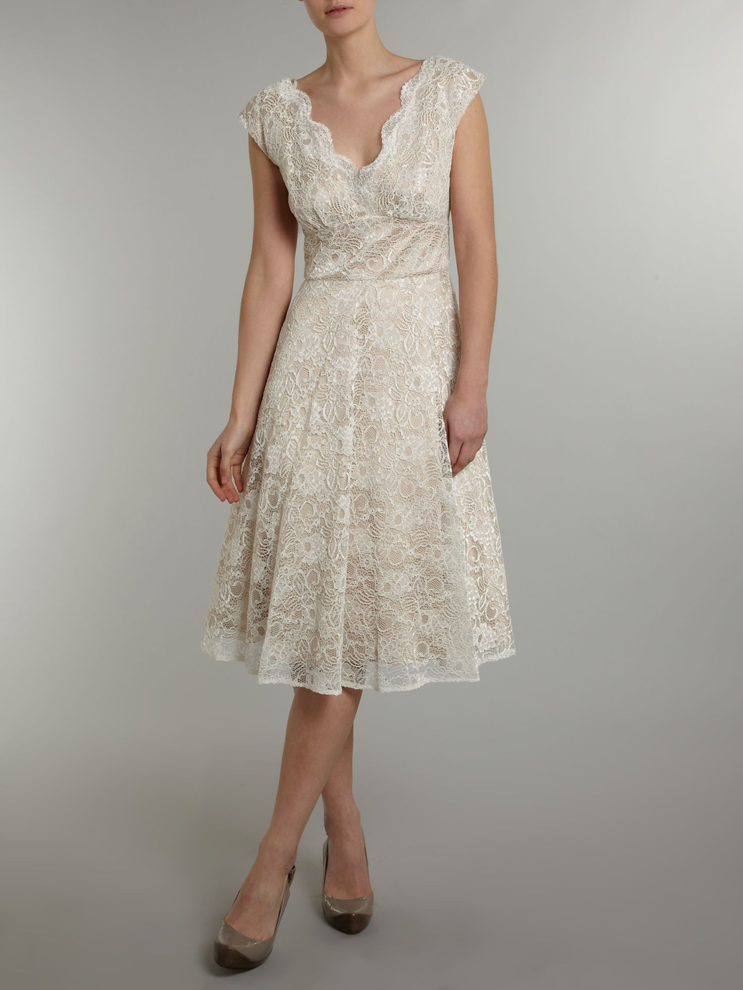 Ariella Lace Overlay Prom Dress In White Lyst
