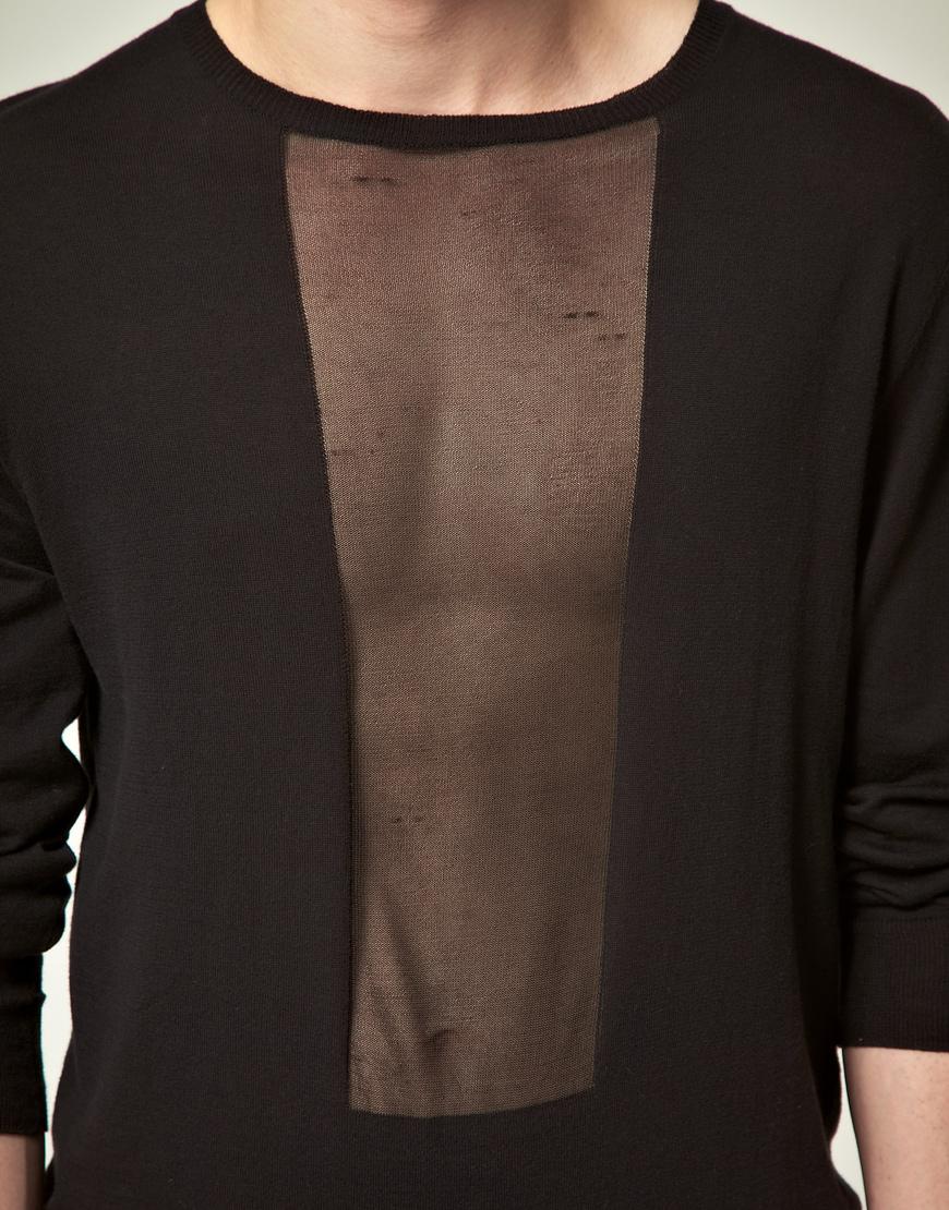 Asos Asos Black Jumper with Sheer Panel in Black for Men | Lyst