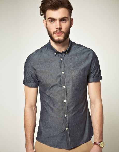 Asos Asos Chambray Short Sleeve Shirt In Blue For Men Lyst