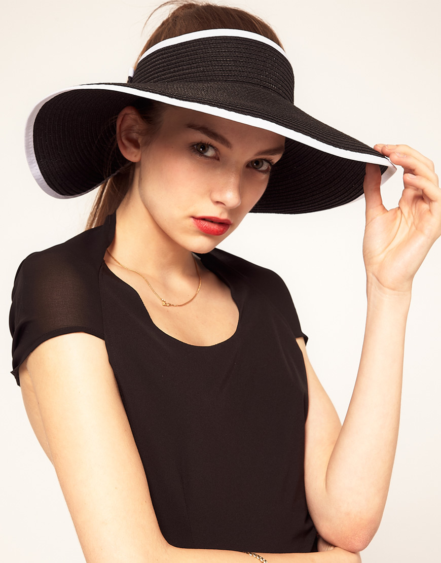 Lyst - ASOS Collection Asos Wide Brim Straw Visor in Black e919585a47f