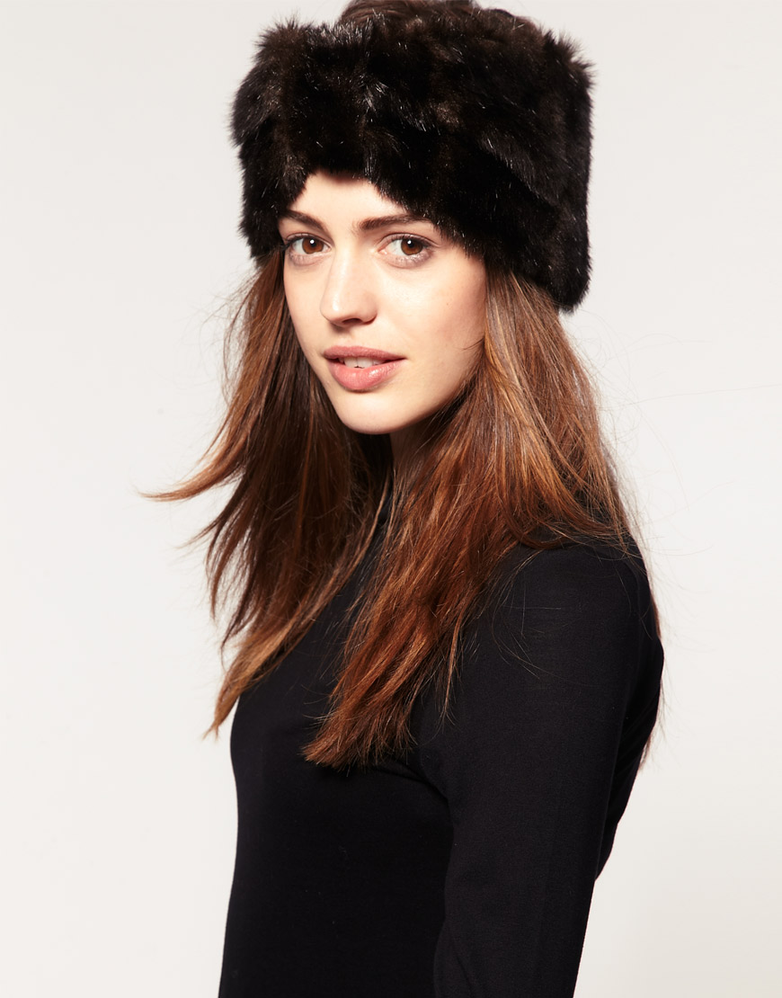 Lyst - ASOS Collection Asos Faux Fur Turban Headband in Brown 25a217dc5c5