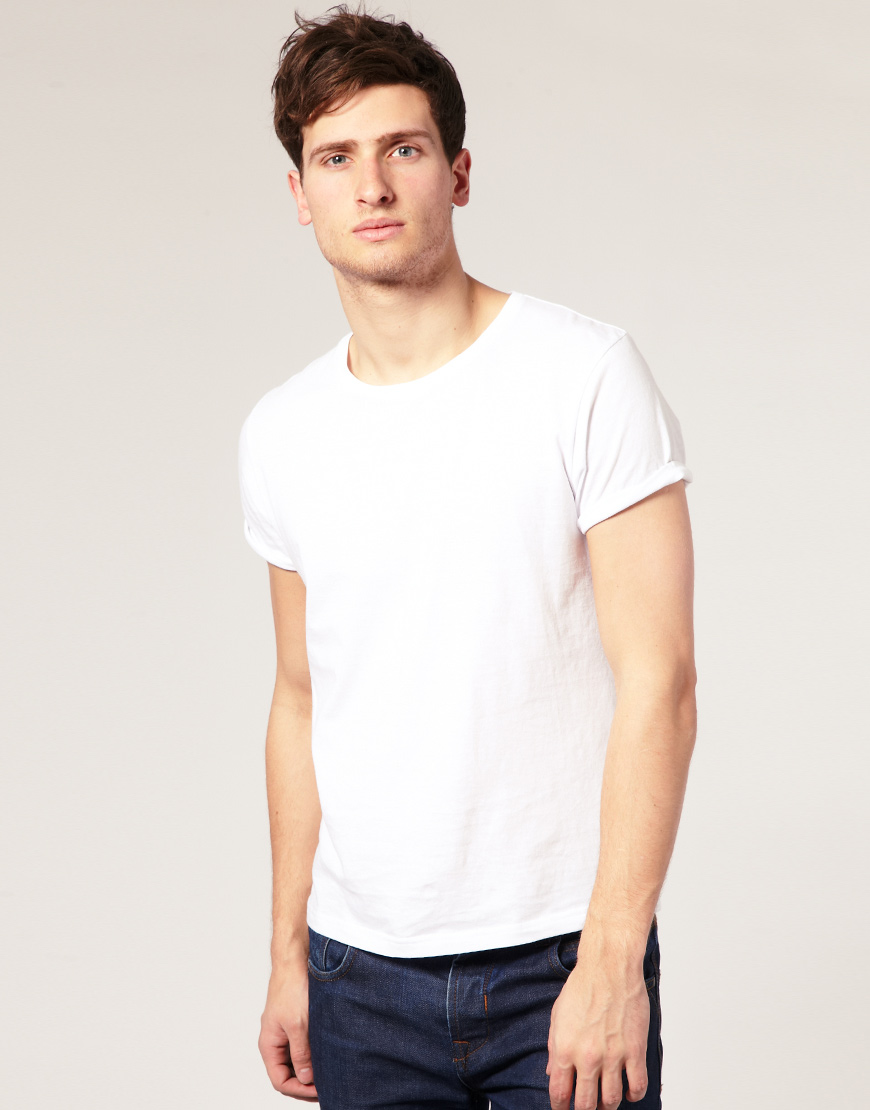 Lyst Asos Crew Neck T Shirt With Roll Up Sleeves In