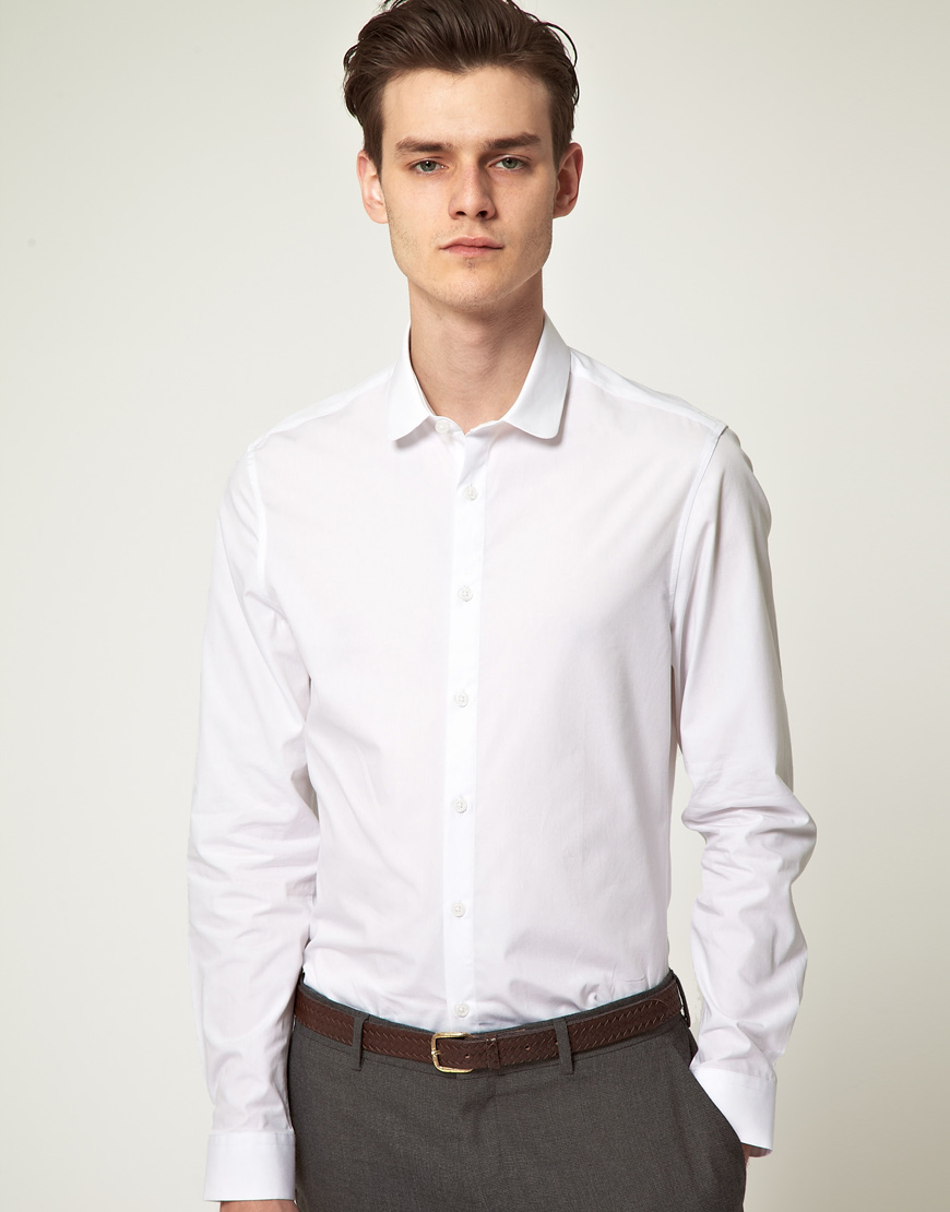 Asos slim fit round collar shirt in white for men lyst for Round collar shirt men