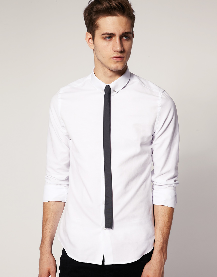 Lyst asos slim fit shirt with tie pin in white for men for Shirt and tie for men