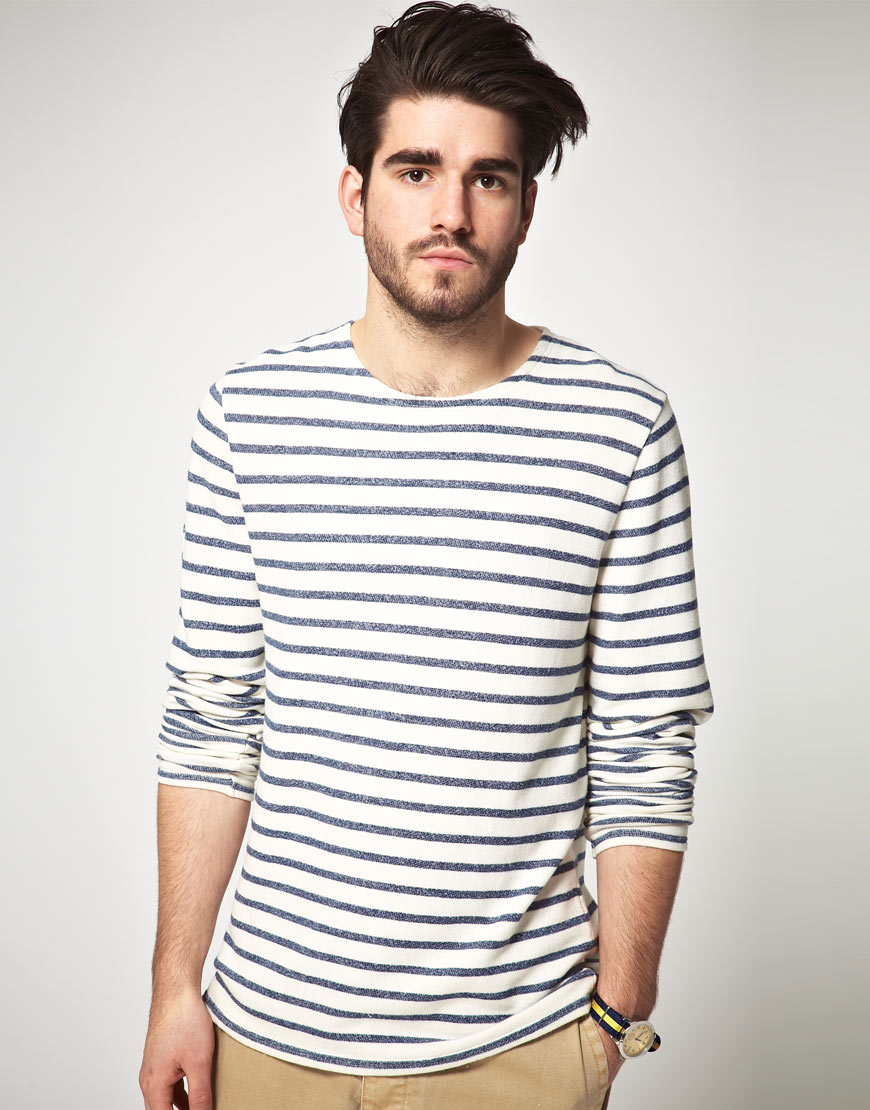Asos long sleeve breton stripe top in heavy weight jersey for Striped french sailor shirt