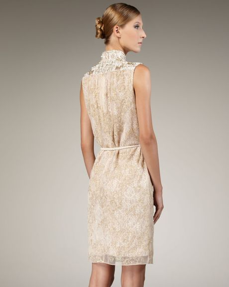 Badgley Mischka Beaded Laceoverlay Cocktail Dress In Gold