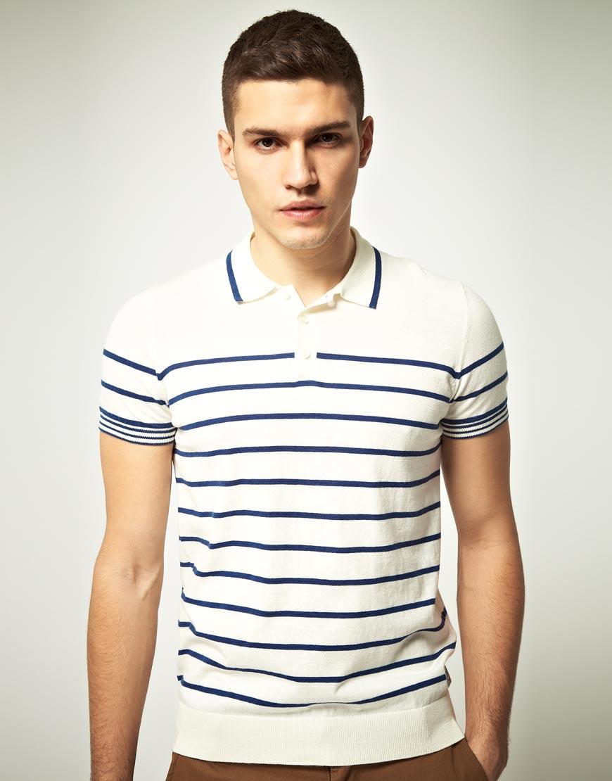 ben sherman ben sherman stripe polo shirt in blue for men starch lyst. Black Bedroom Furniture Sets. Home Design Ideas