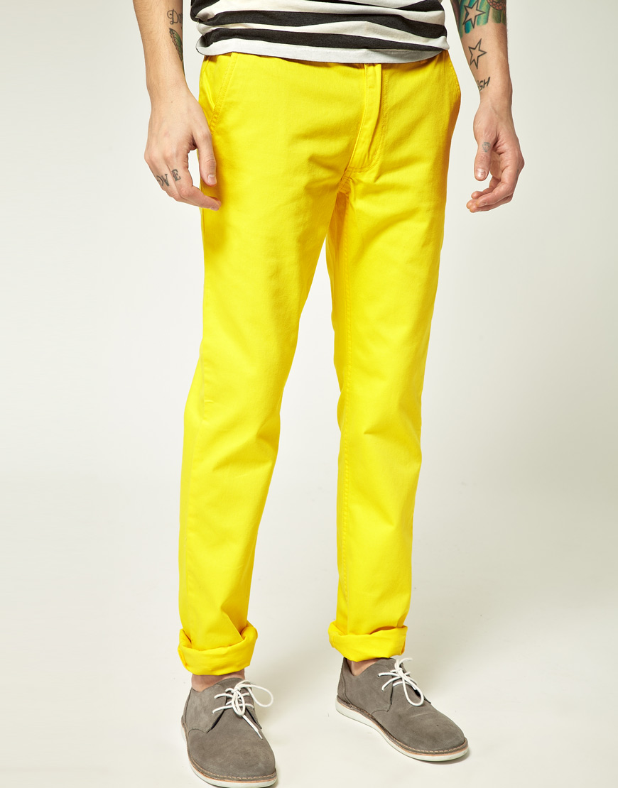 lyst cheap monday cheap monday slim chino in yellow for men