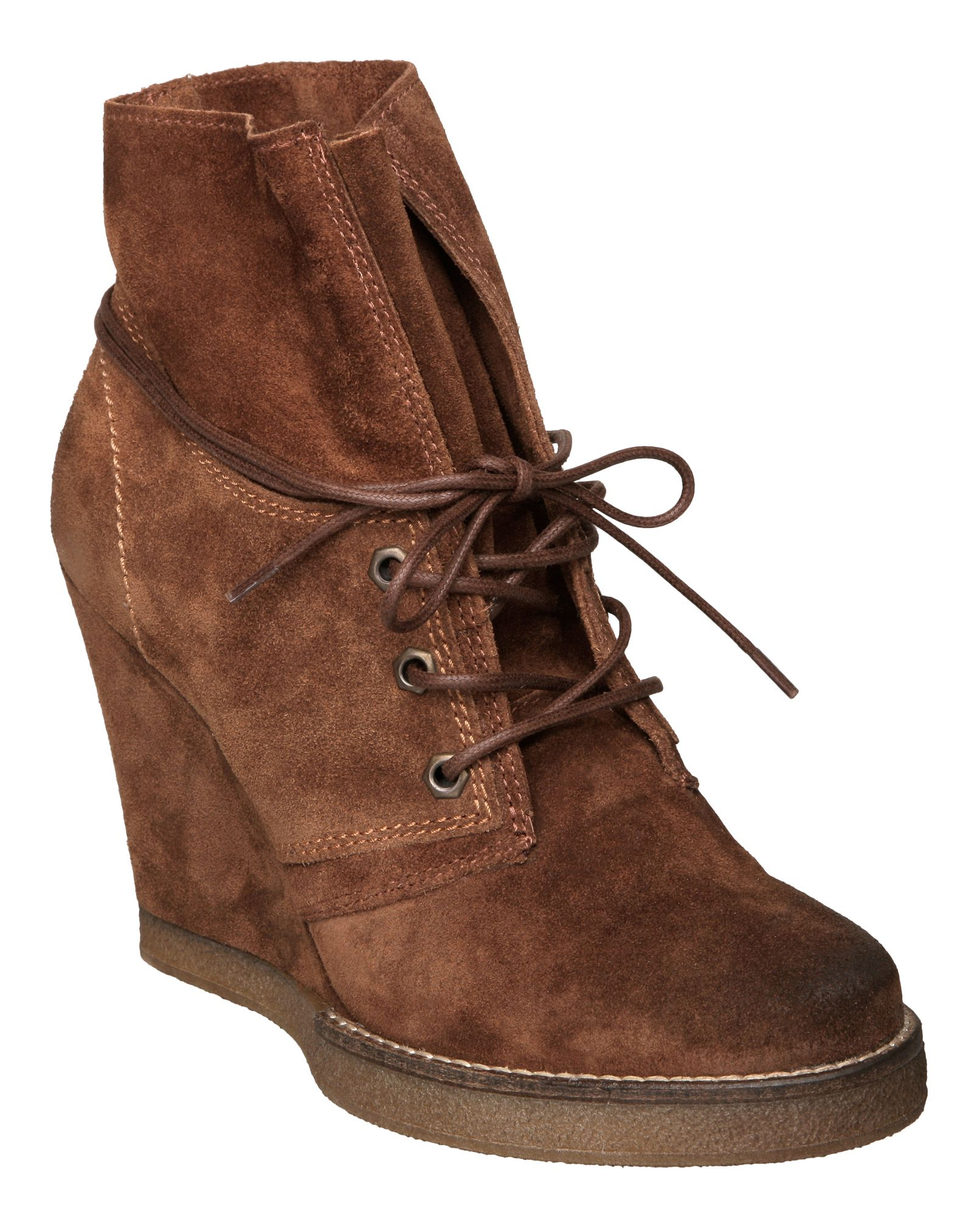 dune rodeo d suede crepe sole wedge boots in brown lyst