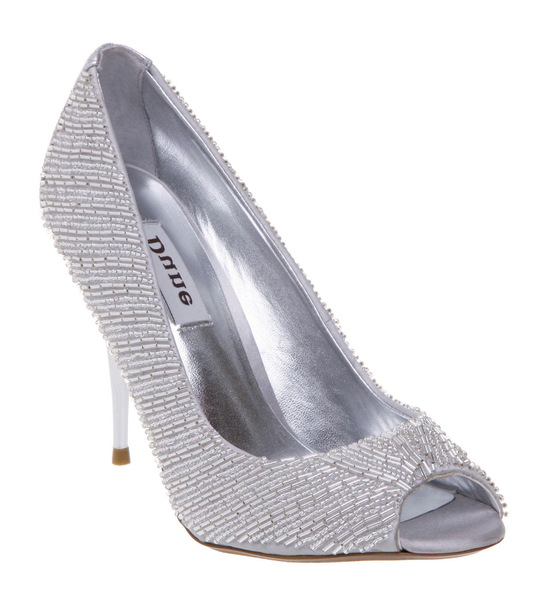 Dune Vivian Peep Toe Beaded Court Shoes in Gray