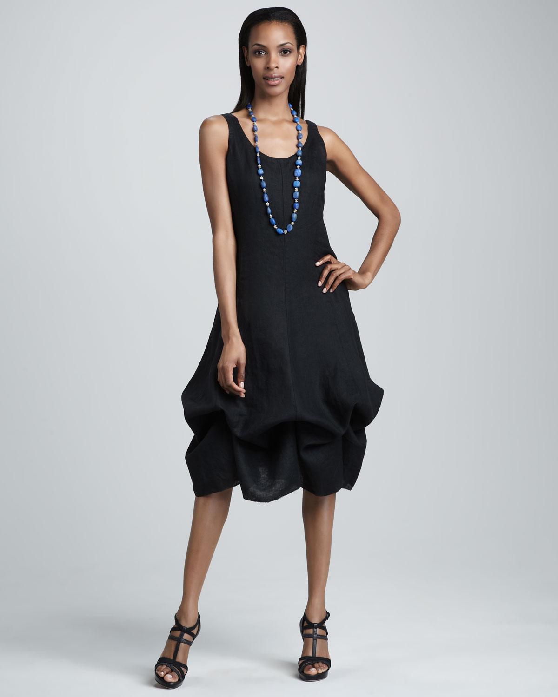 Eileen Fisher Linen Tiehem Convertible Dress In Black Lyst