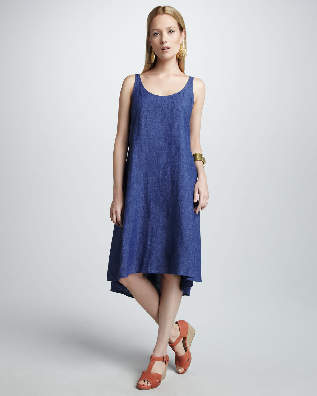 33664d9735 Lyst - Eileen Fisher Linen Dress in Blue