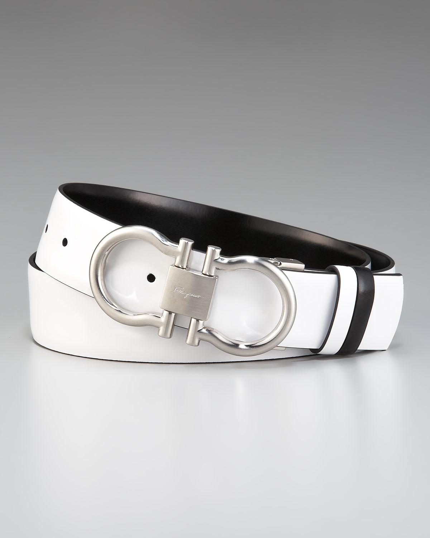 Ferragamo Doublegancini Belt In White For Men Lyst