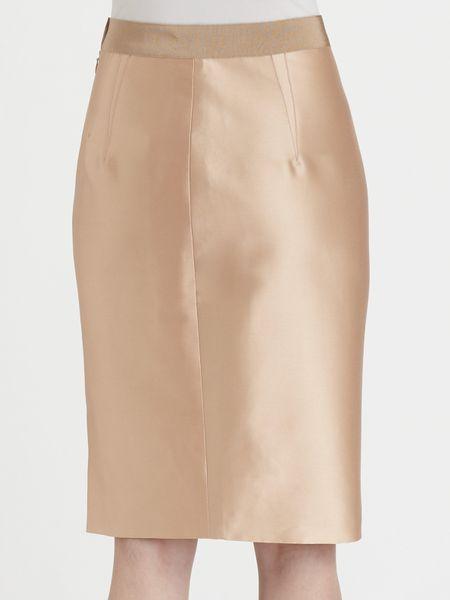 giambattista valli silk blend pencil skirt in pink blush