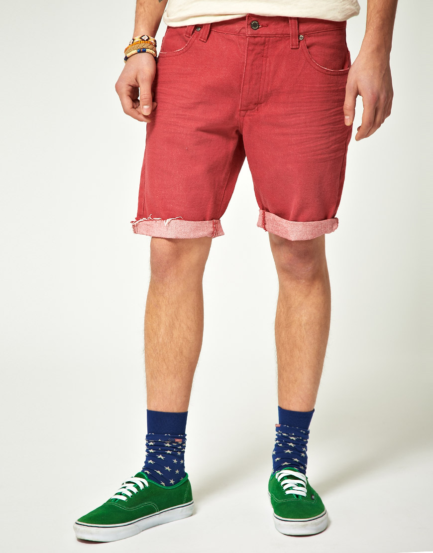 Insight Cut Off Denim Shorts in Red for Men - Lyst