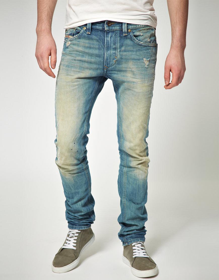 Diesel Thavar Slim Skinny Jeans in Blue for Men | Lyst