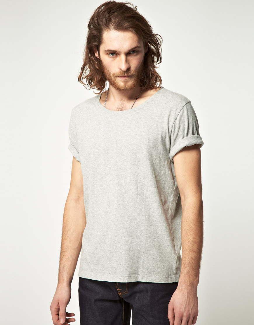 Nudie Jeans Nudie Wide Neck Nj Tshirt In Gray For Men