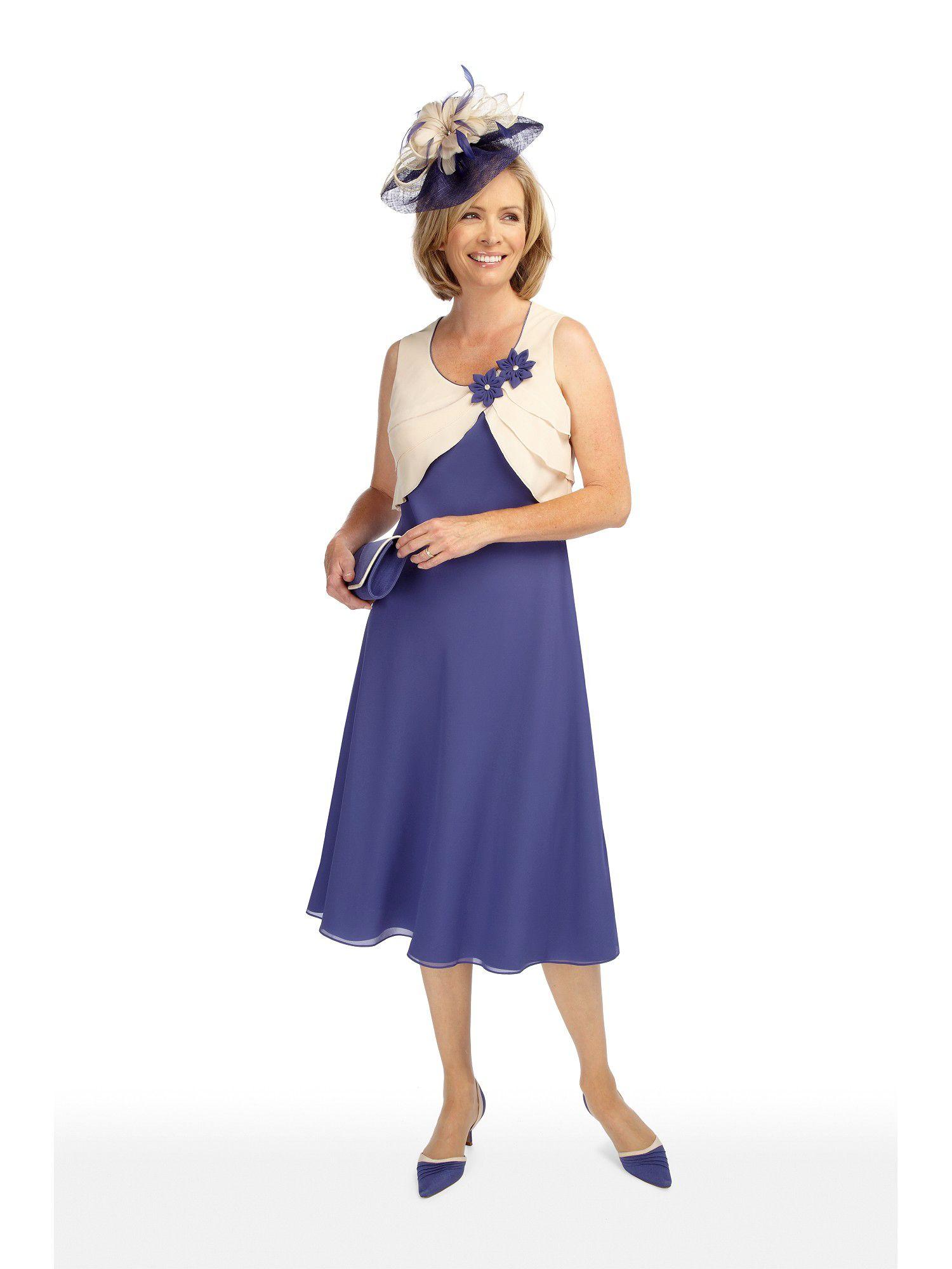 Jacques Vert Chiffon Layered Bodice Dress in Blue - Lyst