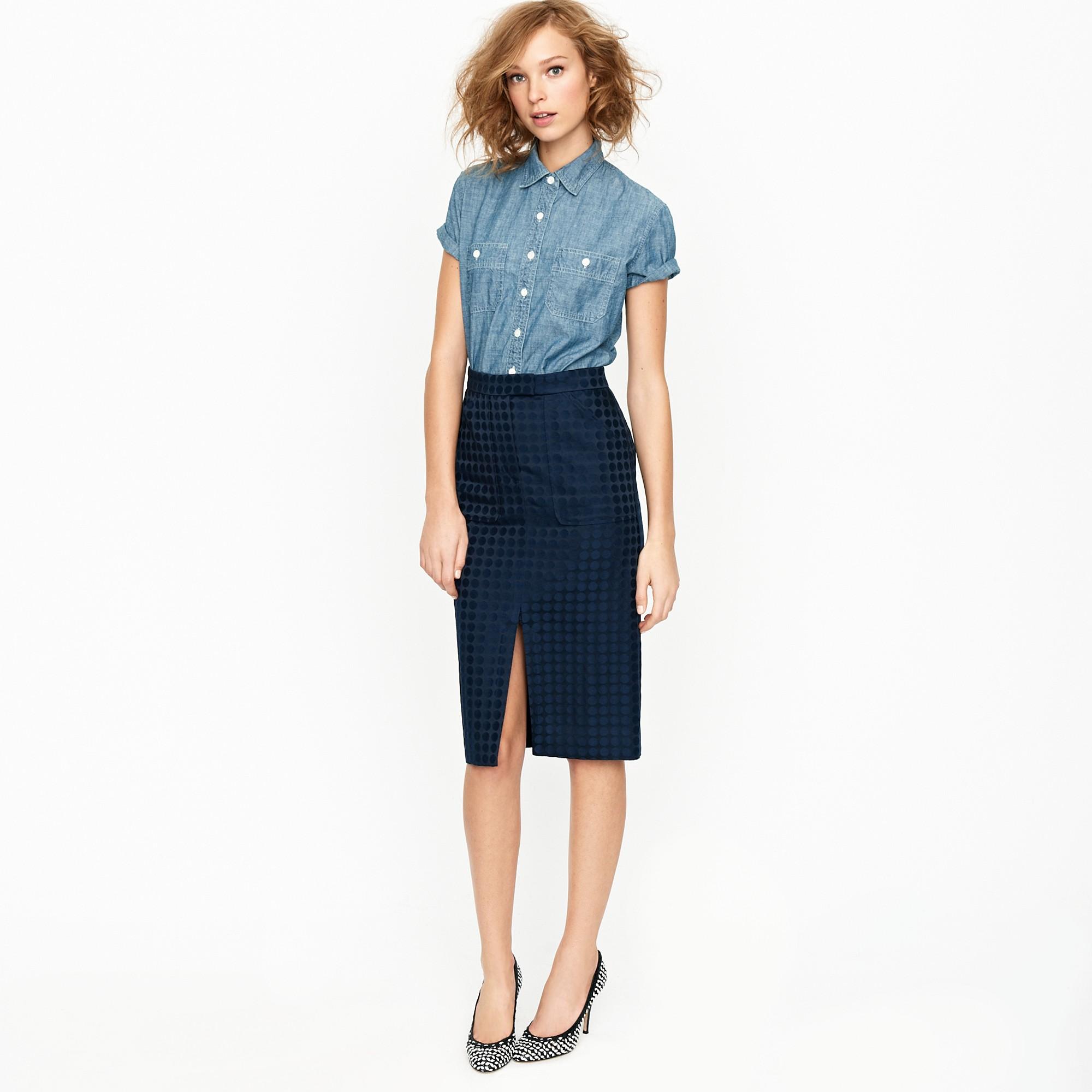 j crew jacquard dot pencil skirt in blue lyst