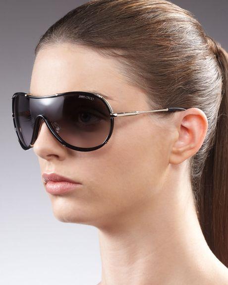 Jimmy Choo Anouk Shield Sunglasses Havana in Black (havana brown grad)