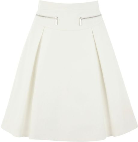 Karen Millen Crisp White Cotton Tailored Skirt in White