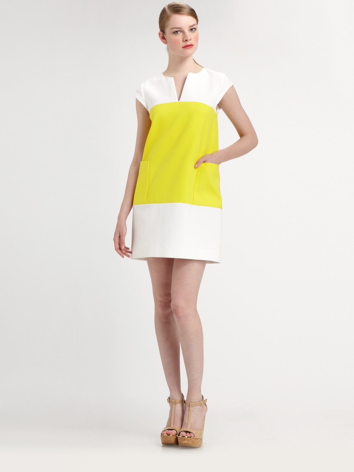 Kate spade new york Colorblock Shift Dress in Yellow | Lyst