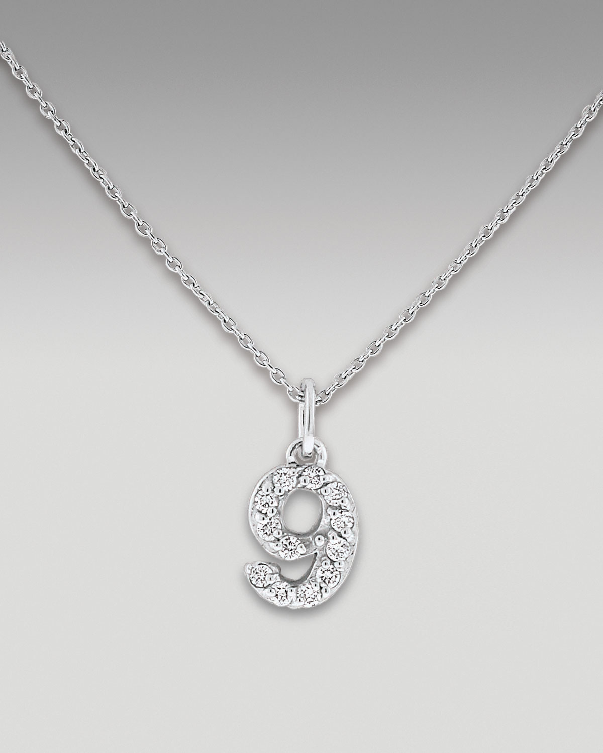Lyst kc designs diamond number necklace 9 in white gallery mozeypictures Images