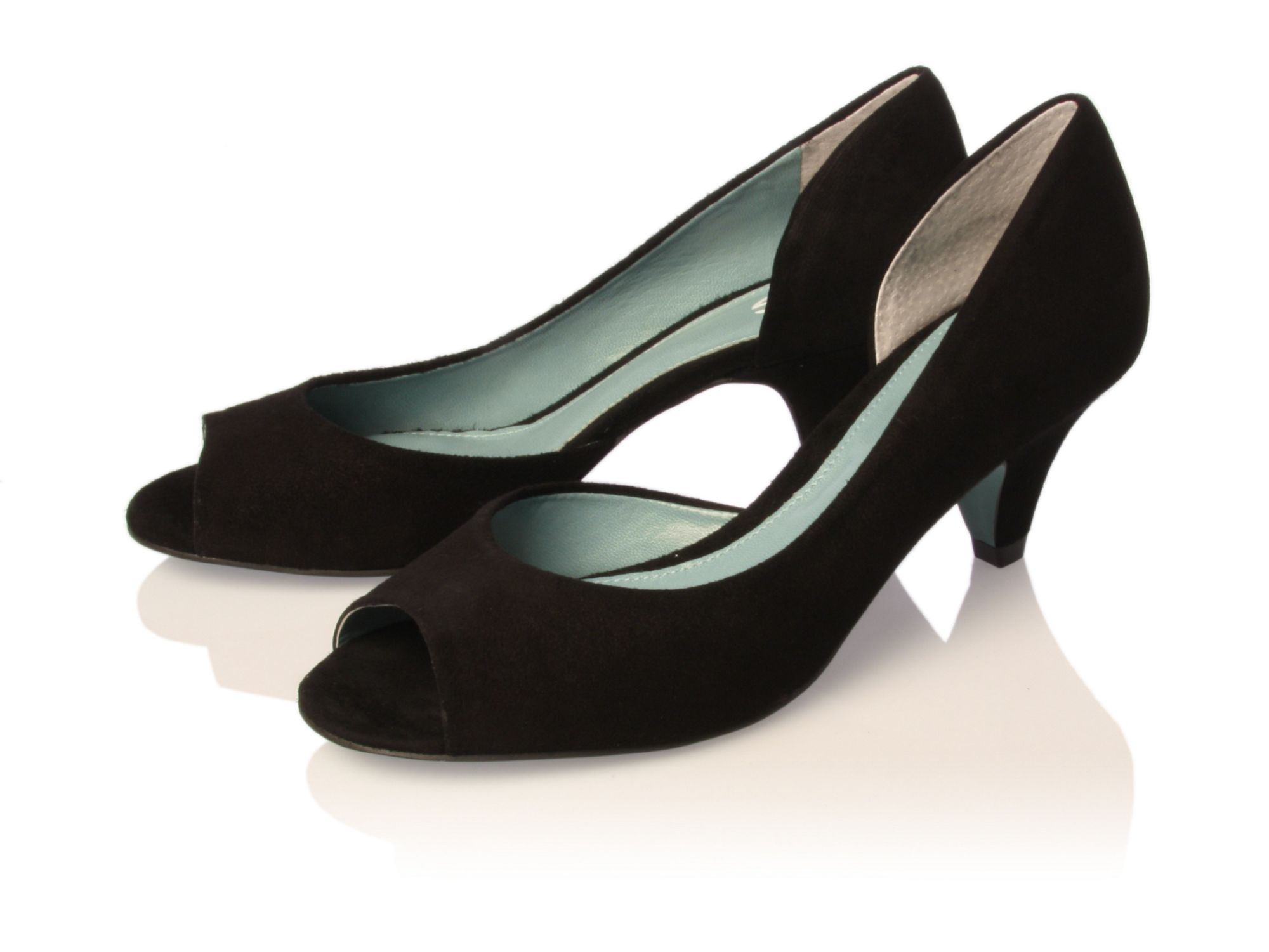 Black Open Toe Kitten Heels - Is Heel