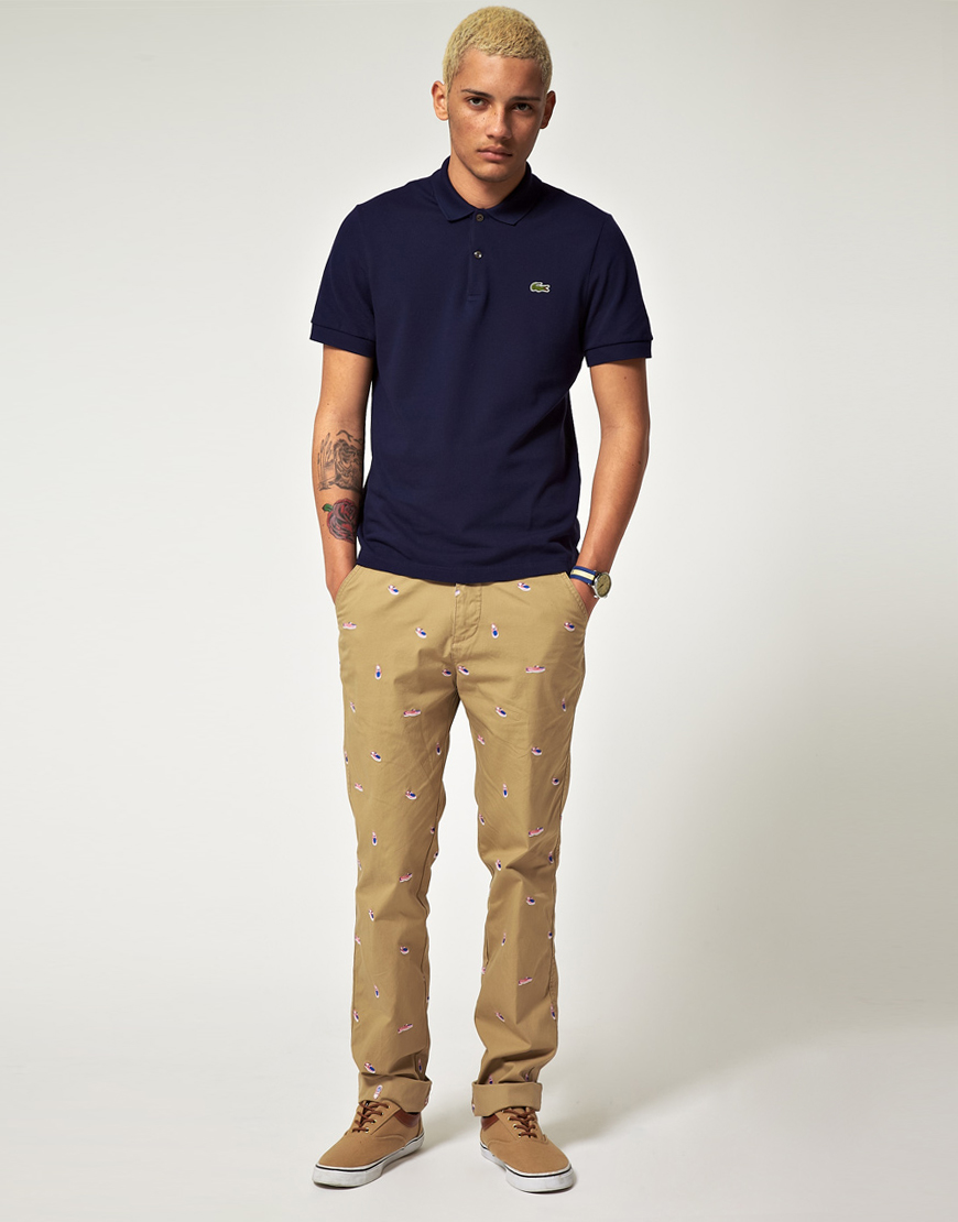 Lacoste L Ive Lacoste Live Shoe Embroidered Chinos In