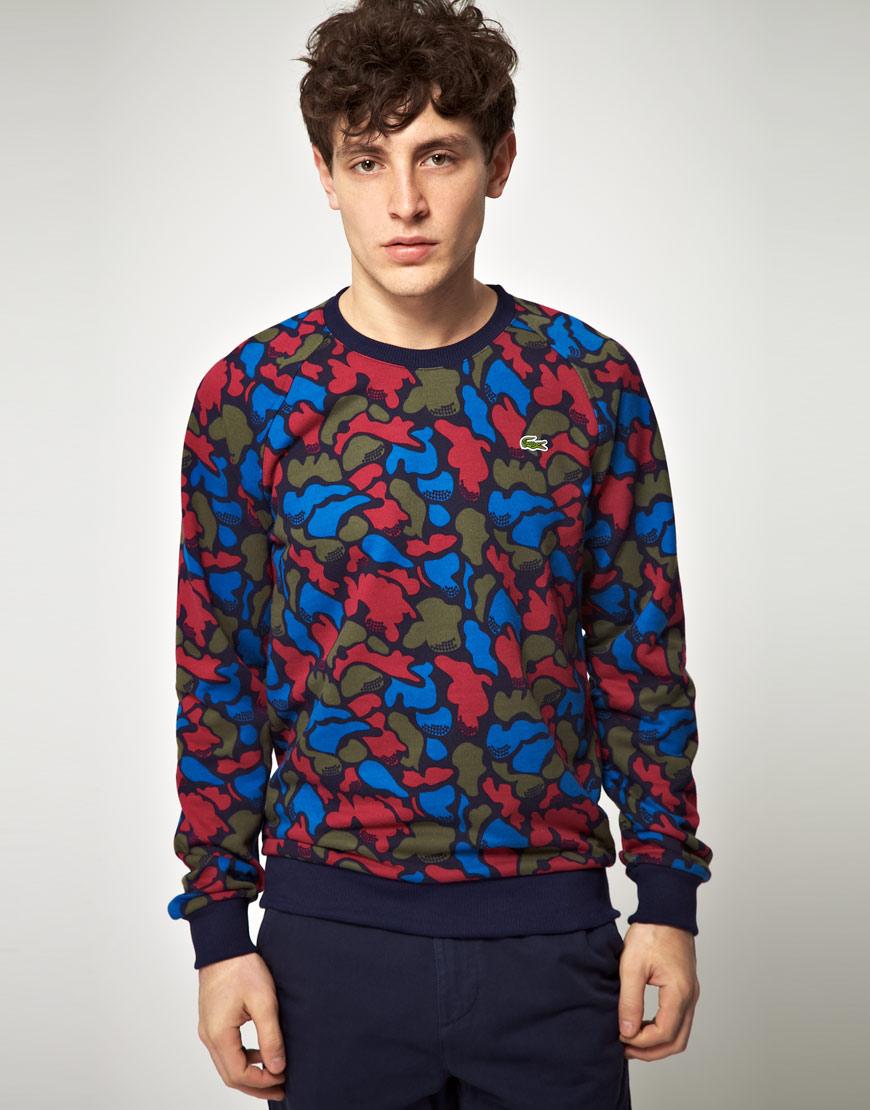 Men Blue For ive Lacoste Live Slim Fit Camo L Sweatshirt Print rCxBodWe