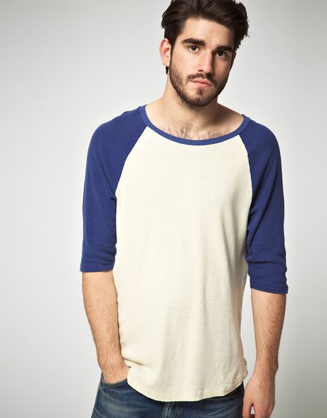 levi 39 s levis vintage baseball 34 tshirt in blue for men fog lyst. Black Bedroom Furniture Sets. Home Design Ideas