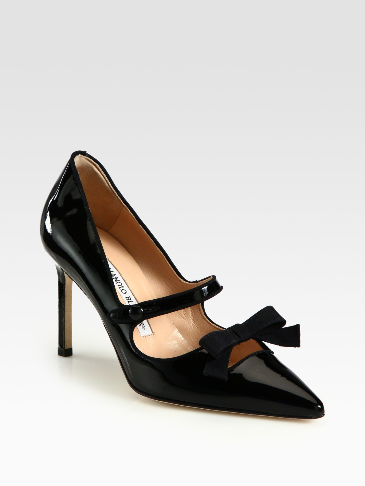 manolo blahnik patent leather mary jane bow pumps in black lyst. Black Bedroom Furniture Sets. Home Design Ideas