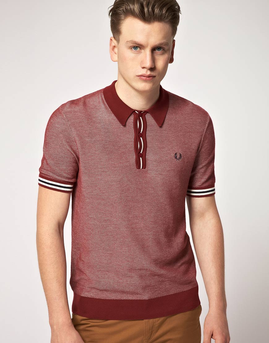 Fred perry oxford knitted polo shirt in purple for men lyst for Knitted polo shirt mens