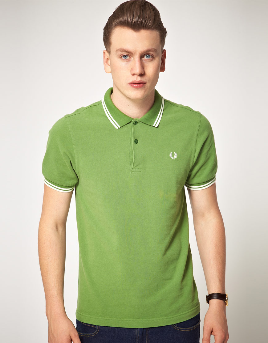 fred perry polo shirt slim fit twin tipped in green for. Black Bedroom Furniture Sets. Home Design Ideas