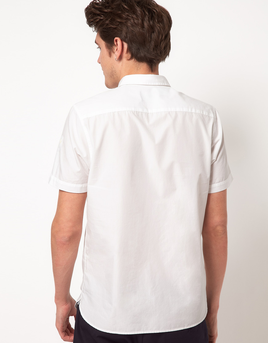 Fred Perry End On End Short Sleeve Shirt in White for Men ...