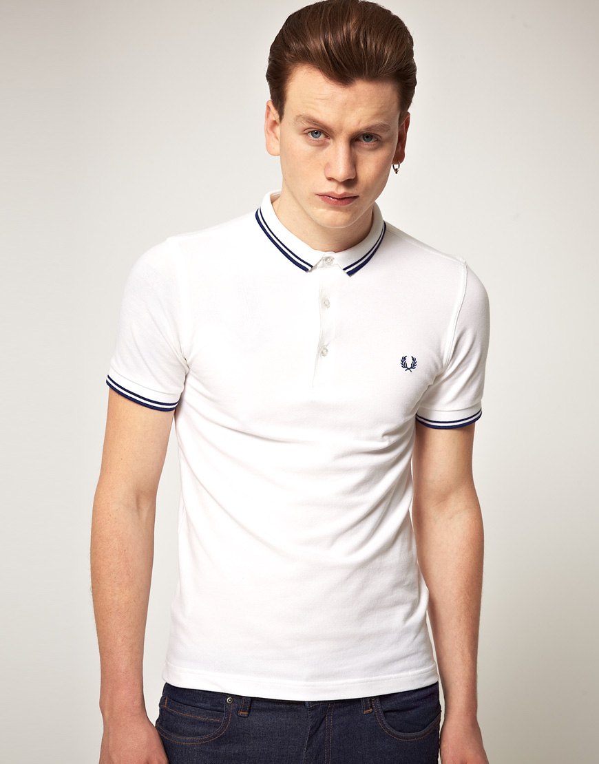 8ee1df655 Fred Perry Fred Perry Slim Fit Micro Collar Polo Shirt in White for ...