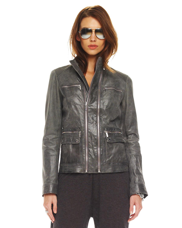 michael michael kors zip leather jacket womens in silver gunmetal lyst. Black Bedroom Furniture Sets. Home Design Ideas