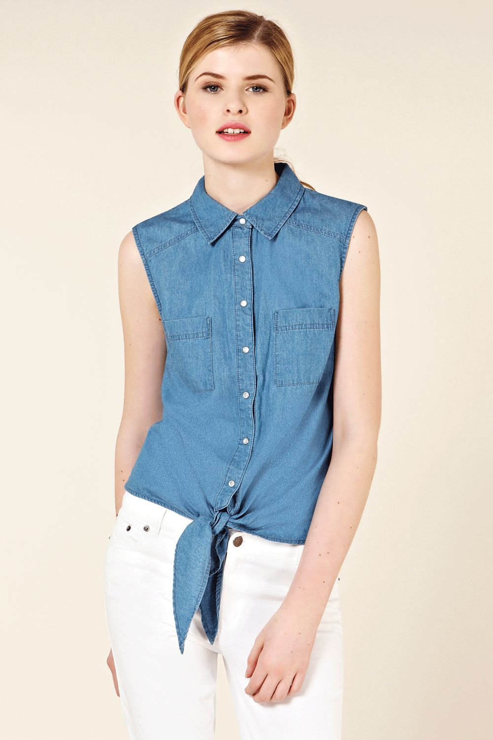 oasis oasis denim sleeveless tie front shirt in blue lyst
