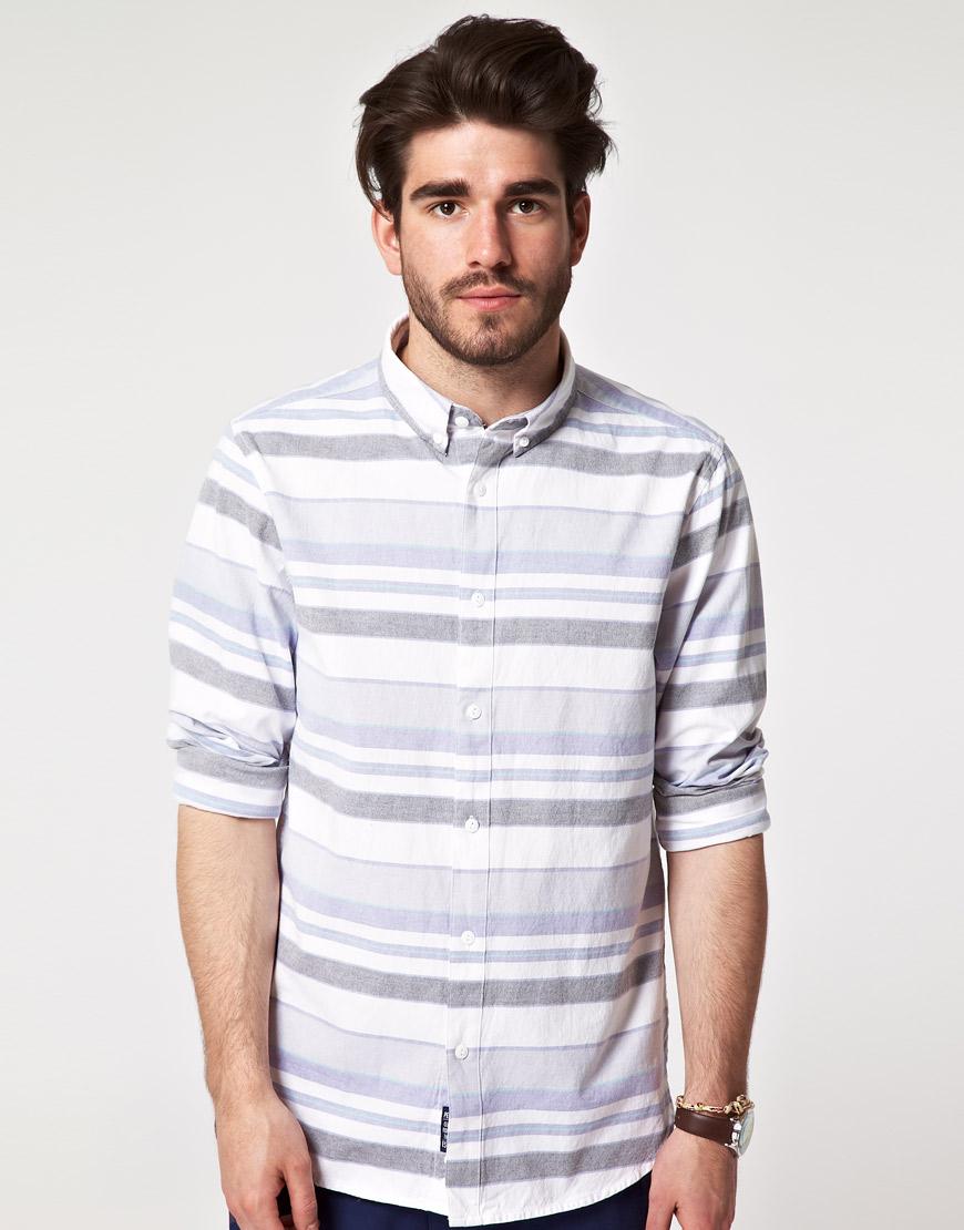 Penfield penfield jackson horizontal stripe shirt in blue for Horizontal striped dress shirts men