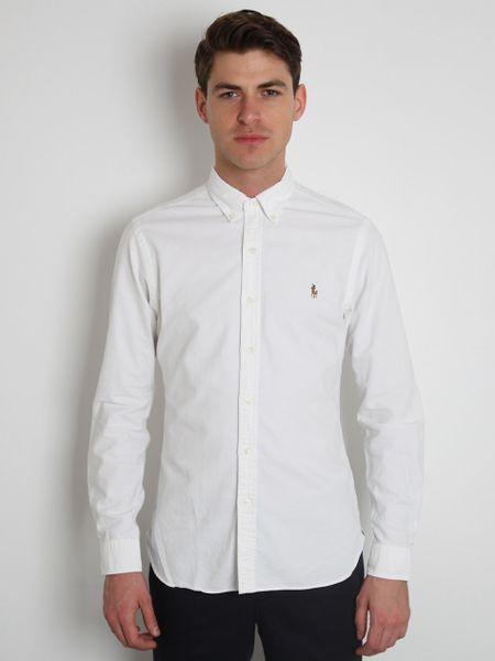 Polo Ralph Lauren Classic Oxford Shirt In White For Men Lyst