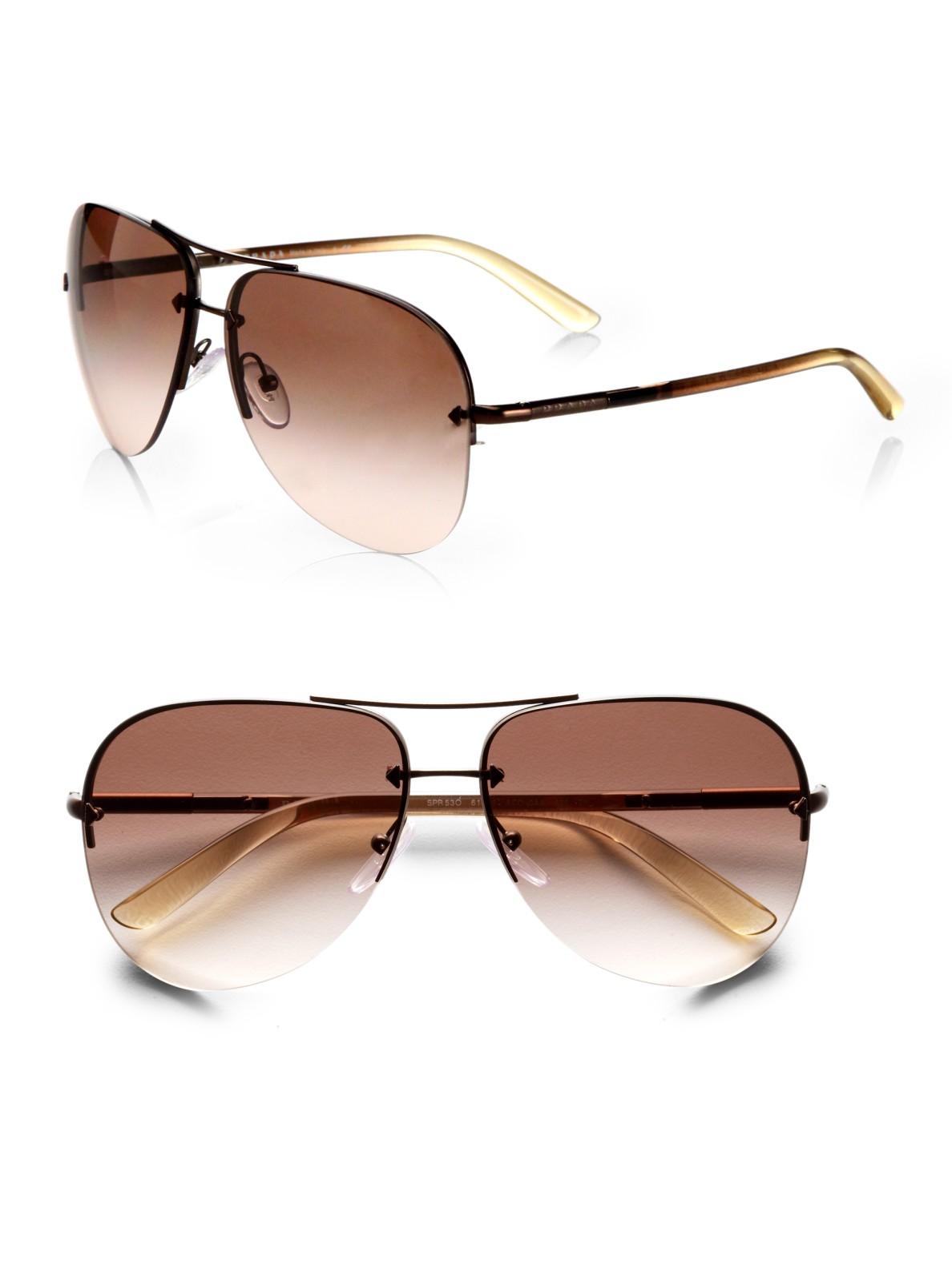 Maui Jim Warranty >> Prada Rimless Aviator Sunglasses in Brown - Lyst