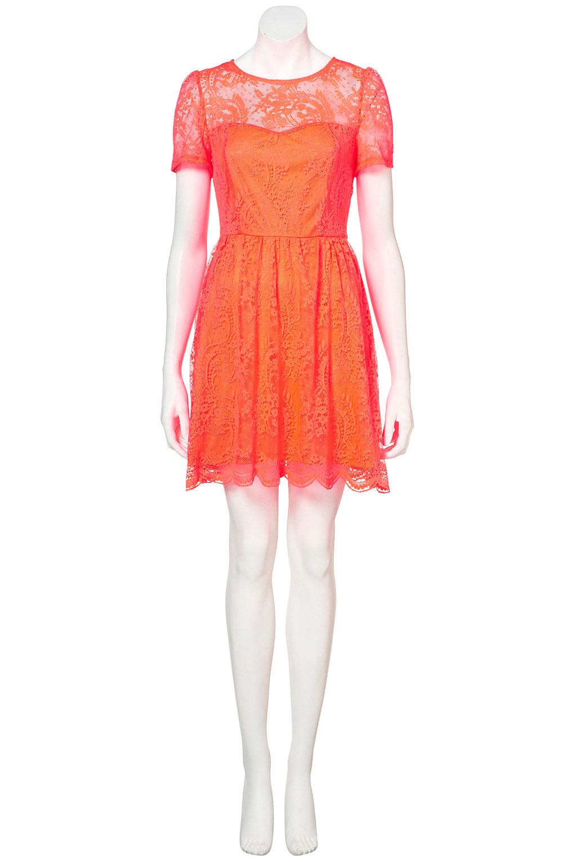 Topshop Neon Lace Flippy Dress In Orange Lyst