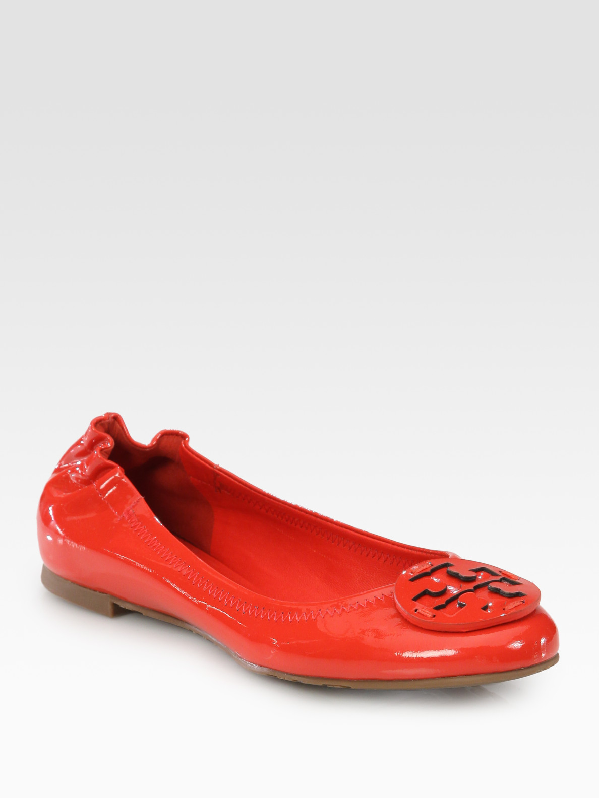 Lyst Tory Burch Reva Patent Leather Logo Ballet Flats In Red