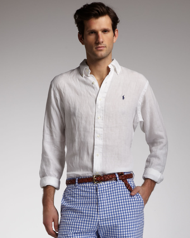 64b6eeab04 ... real lyst polo ralph lauren buttondown linen shirt white in white for  men 55977 aaa58