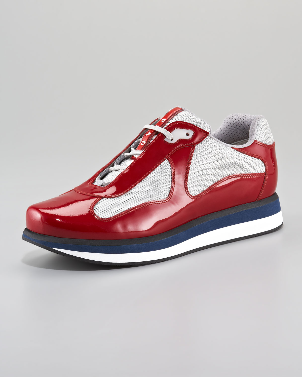 Prada Americas Cup Sneaker Redsilver In Red For Men Lyst
