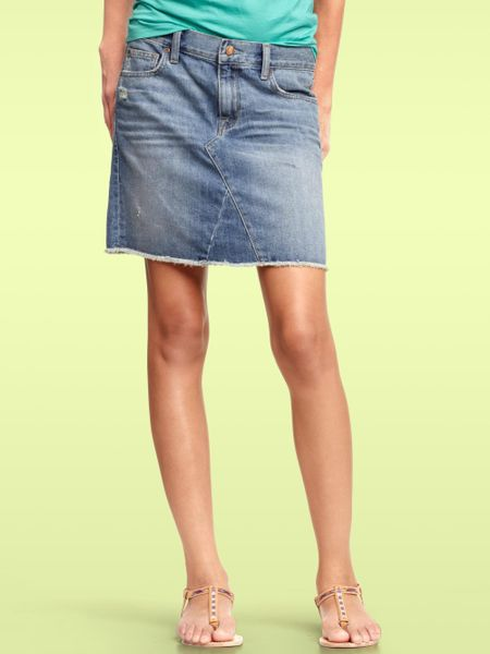 gap aline denim skirt in blue nicholson lyst